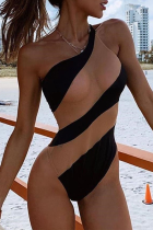 Black Sexy Color Block See-through One Shoulder Skinny Jumpsuits