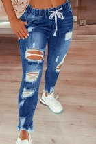Dark Blue Fashion Casual Solid Ripped Mid Waist Regular Jeans