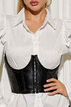 Black Sexy Solid Split Joint Buckle Tops