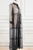 Black Sexy Print Split Joint Mesh Turndown Collar Mesh Dress Dresses