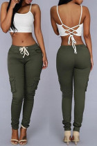 Army Green Fashion Casual Solid Basic Regular Mid Waist Trousers