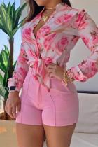 Pink Fashion Casual Print Basic V Neck Tops