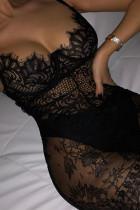 Black Sexy Solid Split Joint Spaghetti Strap Sling Dress Dresses