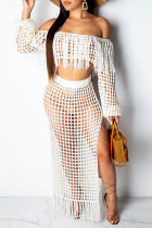 White Sexy Pierced See-through Off the Shoulder Long Sleeve Two Pieces