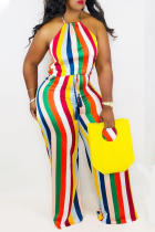 Colour Sexy Striped Split Joint Halter Straight Jumpsuits