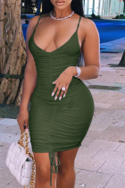 Army Green Sexy Solid Draw String Spaghetti Strap Pencil Skirt Dresses