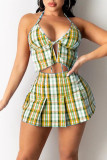 Green Sexy Casual Plaid Print Backless Halter Sleeveless Two Pieces