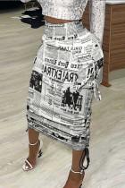 Black White Fashion Casual Print Basic Regular High Waist Conventional Full Print Bottoms