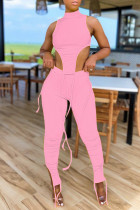 Pink Sexy Casual Solid Slit Asymmetrical Turtleneck Sleeveless Two Pieces