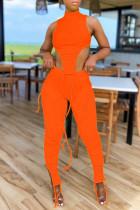 Orange Sexy Casual Solid Slit Asymmetrical Turtleneck Sleeveless Two Pieces