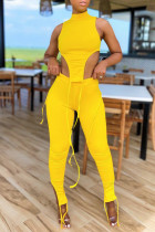 Yellow Sexy Casual Solid Slit Asymmetrical Turtleneck Sleeveless Two Pieces