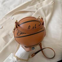 Brown Fashion Casual Letter Print Basketball Messenger Bag