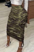 Camouflage Fashion Casual Print Basic Regular High Waist Conventional Full Print Bottoms