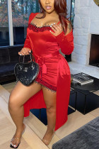 Red Fashion Sexy Solid Pajamas Two-piece Set