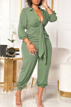 Green Fashion Casual Solid Basic V Neck Plus Size Jumpsuits