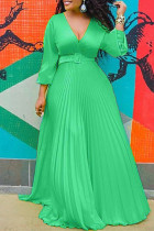 Green Fashion Casual Solid Split Joint V Neck Long Sleeve Dresses