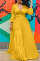 Yellow Fashion Casual Solid Split Joint V Neck Long Sleeve Dresses