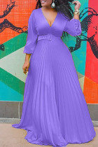 Purple Fashion Casual Solid Split Joint V Neck Long Sleeve Dresses