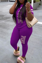 Dark Purple Fashion Casual Letter Printed Two-piece Set