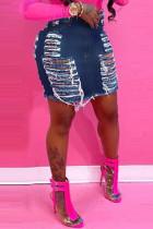 Dark Blue Fashion Casual Solid Ripped High Waist Regular Denim Skirts