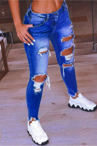 Dark Blue Fashion Casual Solid Ripped Low Waist Regular Jeans