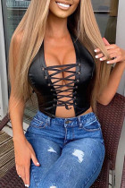 Black Fashion Sexy Solid Backless Strap Design Halter Tops