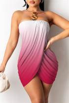 Red Sexy Print Backless Asymmetrical Strapless Sleeveless Dress