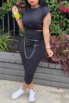 Black Sexy Casual Solid Basic O Neck Sleeveless Two Pieces