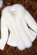 White Fashion Slim Faux Fur Collar Solid Coat
