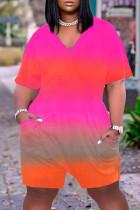 Pink Casual Gradual Change Print Tie-dye O Neck Loose Jumpsuits