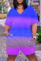 Blue Casual Gradual Change Print Tie-dye O Neck Loose Jumpsuits