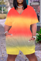 Orange Casual Gradual Change Print Tie-dye O Neck Loose Jumpsuits