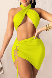 Red Fashion Sexy Solid Backless Strap Design Halter Sleeveless Two Pieces