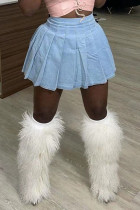 Baby Blue Fashion Casual Solid High Waist Regular Denim Pleated Skirt