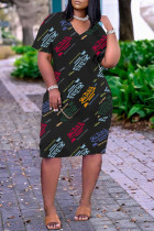 Black Fashion Casual Print Basic V Neck Short Sleeve Dress