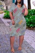 Grey Fashion Casual Print Basic V Neck Short Sleeve Dress