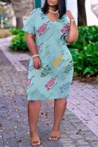 Blue Fashion Casual Print Basic V Neck Short Sleeve Dress
