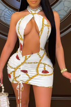 White Sexy Patchwork Hollowed Out Halter Pencil Skirt Dresses