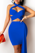 Blue Sexy Solid Hollowed Out Halter Sleeveless Two Pieces