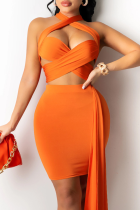 Orange Sexy Solid Hollowed Out Halter Sleeveless Two Pieces
