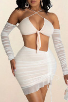 White Sexy Solid Hollowed Out Strap Design Halter Sleeveless Two Pieces
