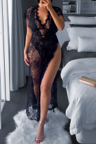 Black Sexy Solid Hollowed Out V Neck Irregular Dress Dresses