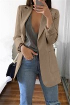 Khaki Casual Long Sleeves Suit Jacket