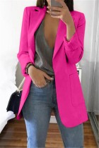 Rose Red Casual Long Sleeves Suit Jacket