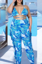 Light Blue Sexy Print Split Joint Flounce Halter Plus Size Swimwear