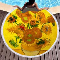 Dark Yellow Casual Party Print Tassel Split Joint Beach Mat