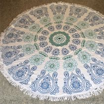 Turquoise Casual Party Print Tassel Split Joint Beach Mat