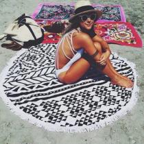 Black Casual Party Print Tassel Split Joint Beach Mat