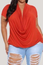 Red Fashion Casual Solid Basic V Neck Plus Size Tops
