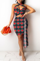 Black Fashion Sexy Print Split Joint Backless Sleeveless Two Pieces